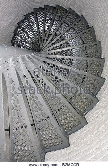 Wisconsin Kenosha Simmons Island Southport Light Station historic lighthouse built 1866 spiral staircase - Stock Image