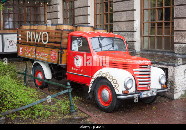 Old Vintage Delivery Truck, Krakow, Lesser Poland, Poland, Europe - Stock-Bilder