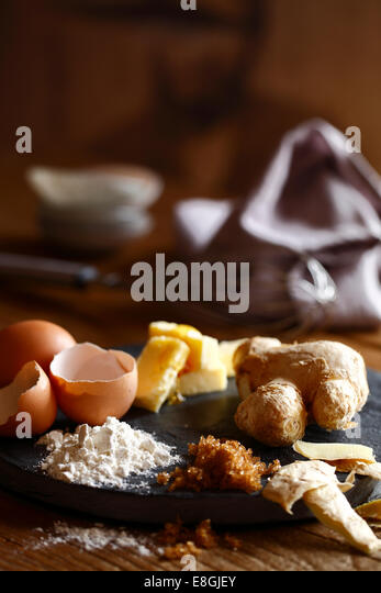 Eggs, ginger, flour, butter and sugar - Stock Image