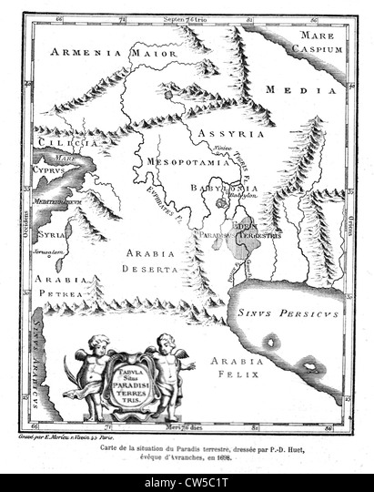 Huet, Geographical map of the earthly  paradise, 1698 - Stock Image