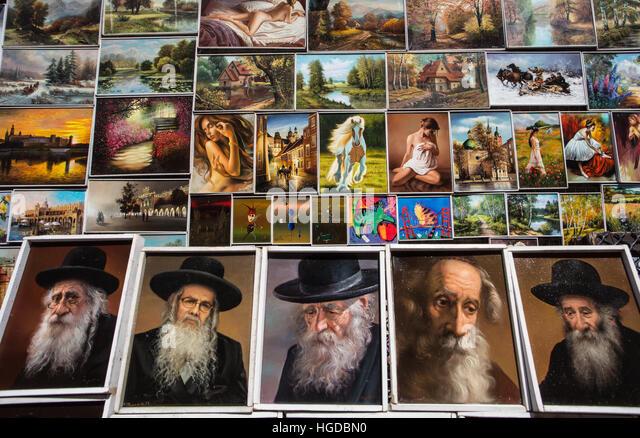 paintings and Jewish portraits in Krakow - Stock-Bilder
