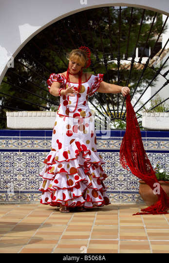 Beautiful middle aged Spanish woman costume, Andalucia, Spain - Stock Image