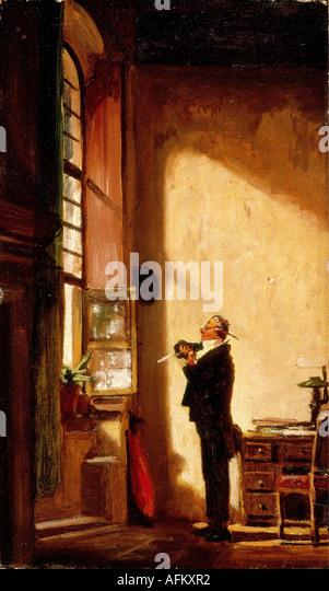 'fine arts, Spitzweg, Carl (5.2.1808 - 23.9.1885), painting, 'Der Schreiber' (The Writer), circa 1850, - Stock Image