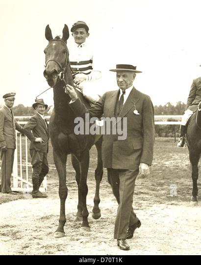 Edward  R. Bradley with Black Helen, Belmont Park, 1935 - Stock Image