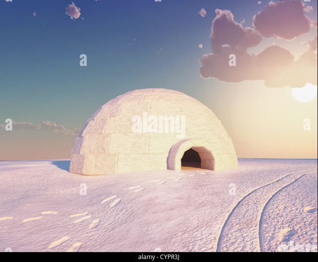 Igloo landscape  ( 3D and hand-drawing elements combined.) - Stock Image