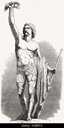 Brennus or Brennos, a chieftain of the Senones, an ancient Celtic Gallic culture - Stock-Bilder
