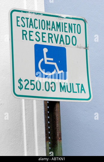 Puerto Rico Old San Juan sign handicapped parking only Spanish language - Stock Image
