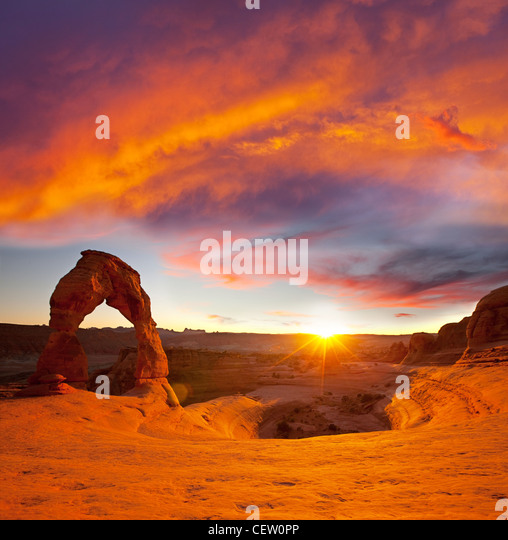 Delicate Arch in USA at sunset - Stock Image