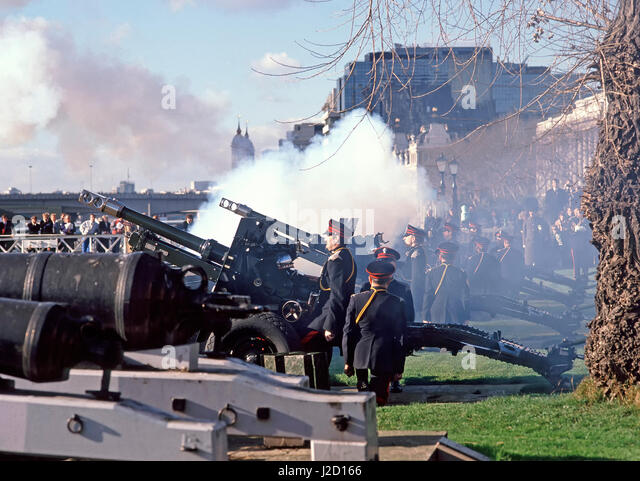 Tower of London England UK Honourable Artillery Company in uniform  annual winter firing of ceremonial military - Stock Image