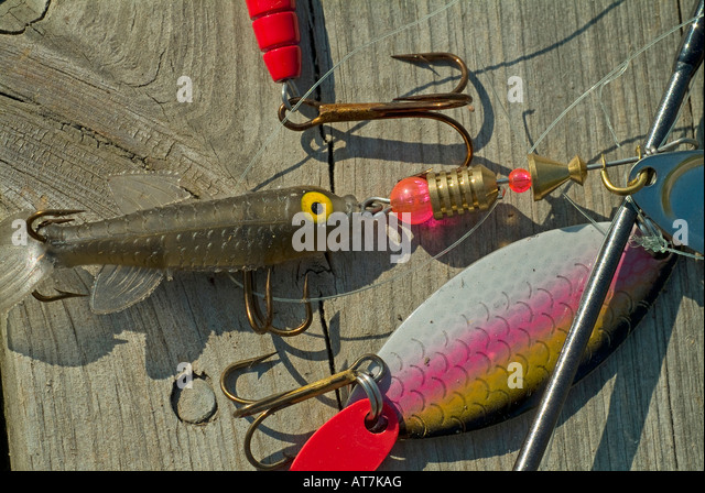angling hook fishing lure bait - Stock Image