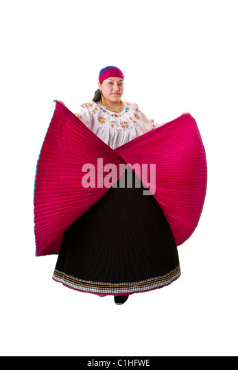 Beautiful Hispanic woman dancing in red with black folkloric clothes from Ecuador, Colombia, Peru, Bolivia or Venezuela - Stock Image