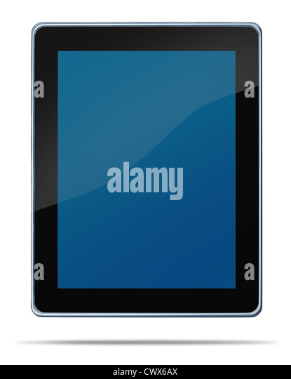 Tablet computerdigital display touch screen electronic gadget on a white background and shadow representing the - Stock Image
