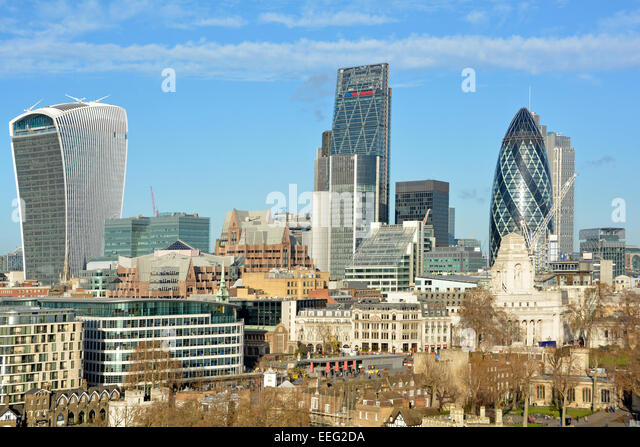 City of London skyline including the new walkie talkie and cheesegrater buildings England UK - Stock Image