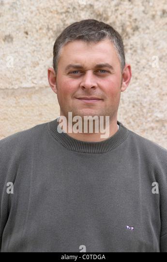 Fabien Coche, owner winemaker dom coche bizouard meursault cote de beaune burgundy france - Stock Image