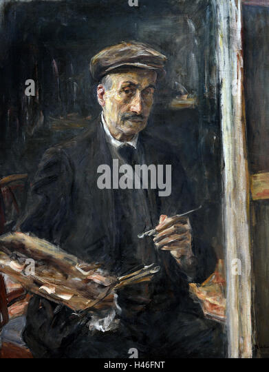 Self Portrait with Sports Cap at the Easel 1925 MAX LIEBERMANN (1847-1935) German Germany - Stock Image