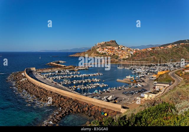 Italy Sardinia Castelsardo harbour - Stock Image