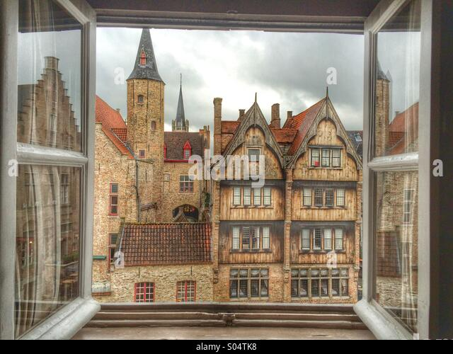 Room with a view in Brugge, Belgium. - Stock Image