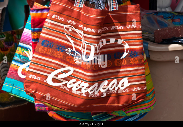 Souvenir stand with Curacao beach bags, Willemstad, Curacao - Stock Image