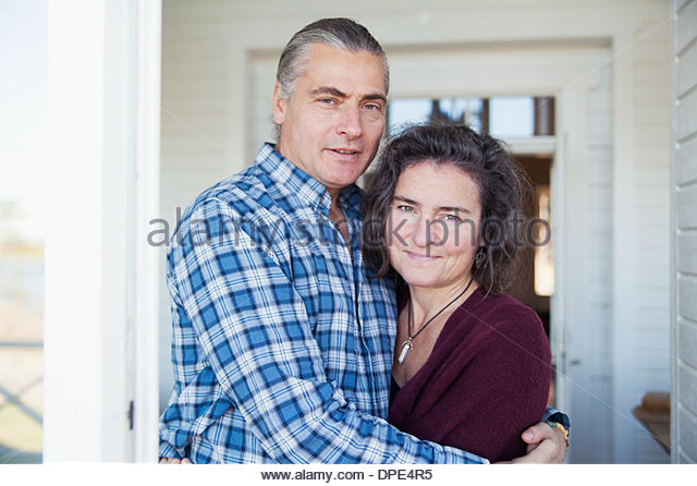 Portrait of mature couple enjoying vacation, Mariefred, Sweden - Stock-Bilder