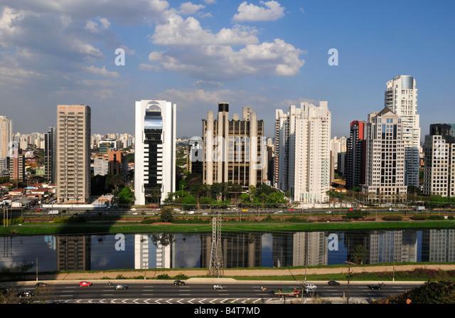 Skyline around Pinheiros River Sao Paulo Brazil - Stock Image