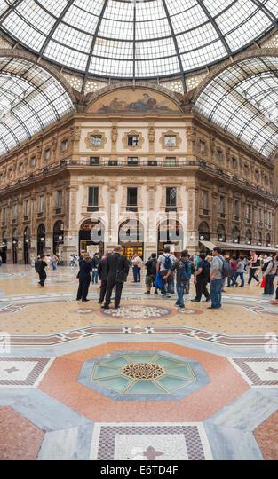 Vittorio Emanuele Gallery La Galleria Milan Milano Italy - Stock Image