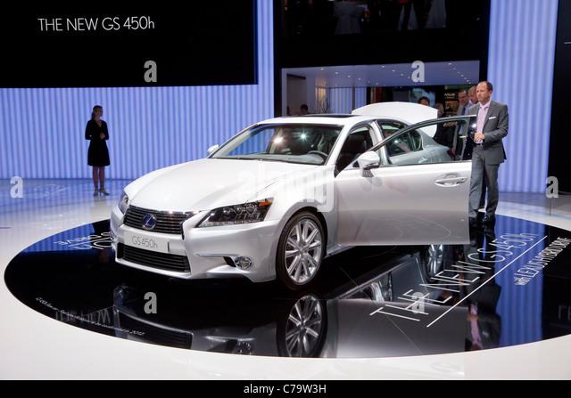 New Lexus HS 450h Hybrid Car on the IAA 2011 International Motor Show in Frankfurt am Main, Germany - Stock Image