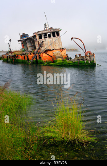 Shipwreck in Gold Beach, Oregon - Stock Image
