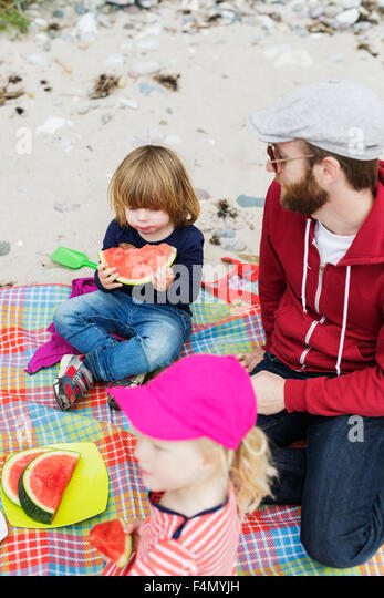 High angle view of family enjoying picnic at beach - Stock Image
