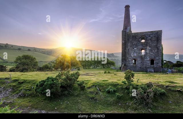 An historic ruined tin mine at the Minions on Bodmin Moor in Cornwall - Stock Image