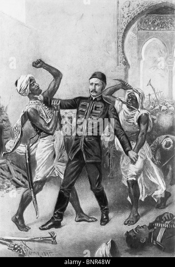 Vintage print depicting the death of British General Charles Gordon in January 1885 following the Siege of Khartoum - Stock Image