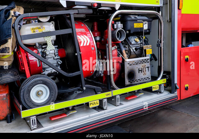 Fire-fighting firefighting and rescue equipment - pumps carried by the Biritsh fire service in fire engines trucks - Stock Image