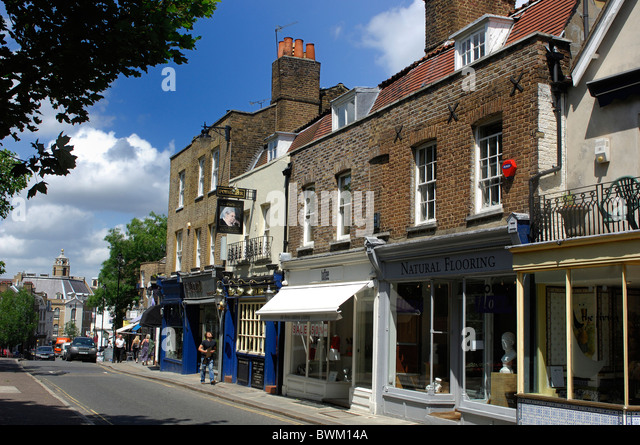 UK London Victorian Inn Richmond Great Britain Europe England shops street buildings row of houses shopping - Stock Image