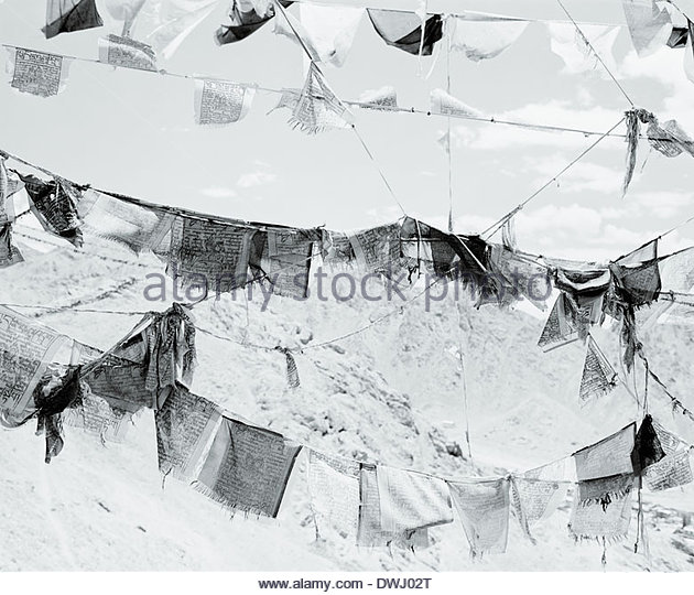 Prayer Flags ('wind-horse'), on the summit of Lachulung La,  Ladakh, Northern India. - Stock Image