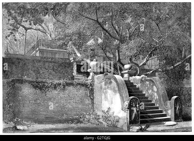 Black and white engraving of Jaya Sri Maha Bodhi, a sacred fig tree in the Mahamewna Gardens, Anuradhapura, Sri - Stock Image