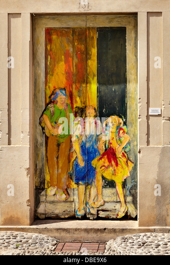 Funchal Old Town (Zona Velha), painted wall by local artist, Madeira Island, Portugal - Stock-Bilder