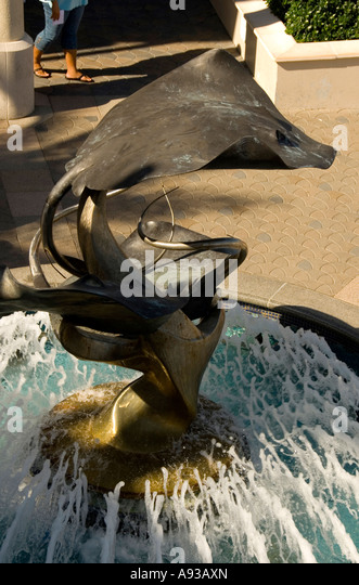 Grand Cayman George Town stingray fountain at shopping plaza - Stock Image