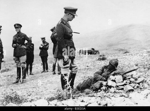 George II of Greece on manoeuvres - Stock Image