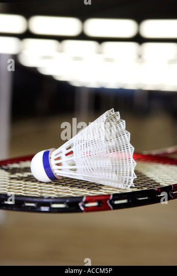 A shuttlecock on a badminton racket close-up. - Stock Image