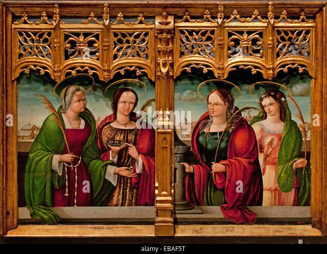 Saints Apollonia Lucy and Barbara and Holy Martyr 1530 Andrés de Melga ( Master of Támara ) 1500-1557 - Stock Image