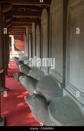 The Temple of Literature is Confucian temple which was formerly a center of learning in Hanoi. - Stock Image