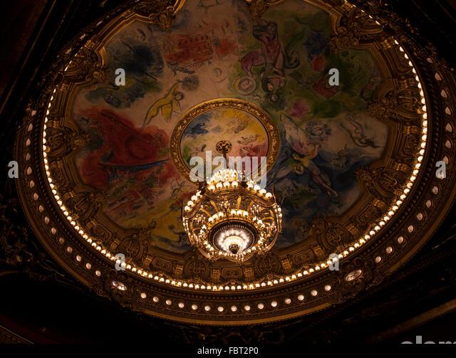Ceiling of the Garnier opera house, Palais Garnier, Paris, France. - Stock Image