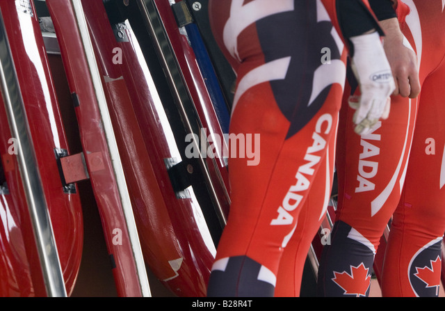 Louge at the Whistler Sleding Centre British Columbia Canada - Stock Image
