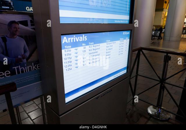 Amtrak station arrival information display - USA - Stock Image