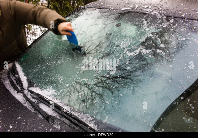 Ice on a vehicle after ice rain Karlsruhe Baden-Wuerttemberg Germany - Stock Image
