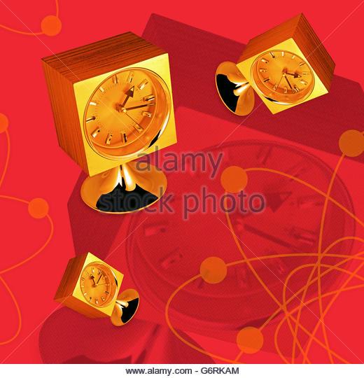Vintage atomic mantel clock illustration - Stock Image