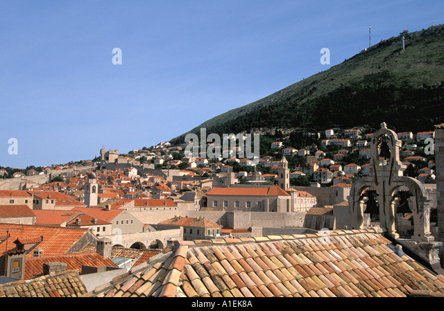Dubrovnik Croatia Old Town Walled City Rooftrops skyline - Stock Image