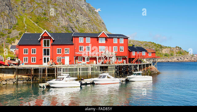 Traditional red painted houses, Lofoten Islands, Norway - Stock-Bilder