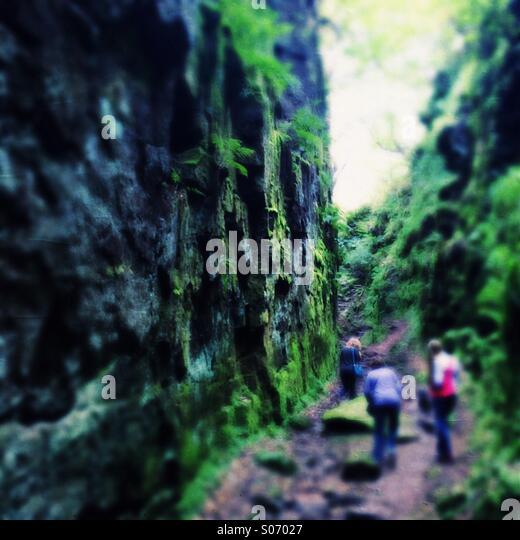 Three people in a green rocky gorge - Stock-Bilder