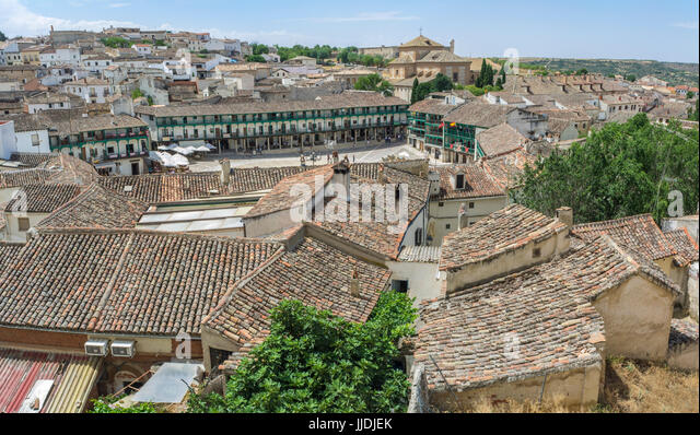 View from upper side of the main square in the historic small town Chinchon, near Madrid - Stock Image