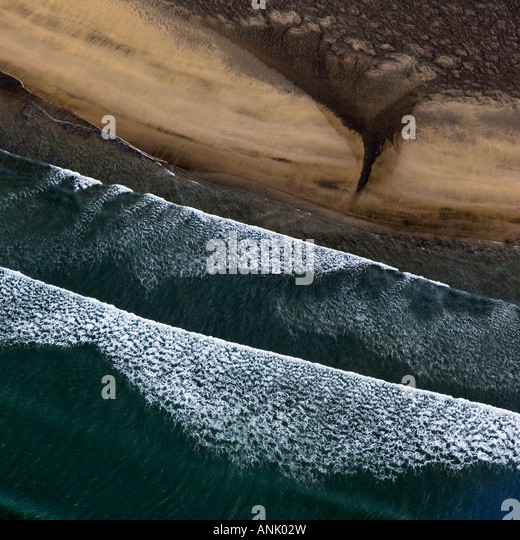 Aerial photo of beaches and coastline in Iceland - Stock Image